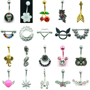 Mix Sale Fashion Belly Button Rings Twenty Style 316L Stainless Steel Navel Body Piercing Jewelry 14 pcs Lot4