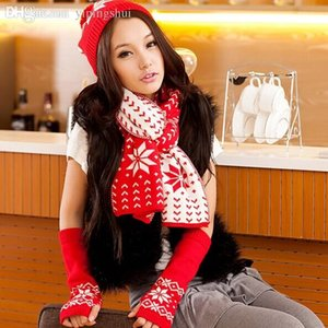 Wholesale Hot Saling South Korean female winter snowflake pattern knit wool scarf hat gloves three piece