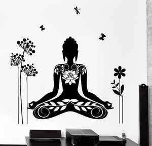 Wholesale 2016 Wall Decal Buddha Yin Yang Oriental Lotus Blossom Meditation OM Wall Sticker Home Decor removable wall decals