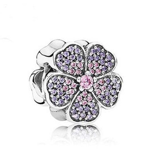 Wholesale Charms bedels Sterling Silver Bead Purple Cherry Blossom Murano Pendants Beads Flower European Jewelry For Bracelets