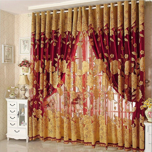 New Arrival Curtains Luxury Beaded For Living Room Tulle +Blackout Curtain Window Treatment drape In Brown Red Freeshipping