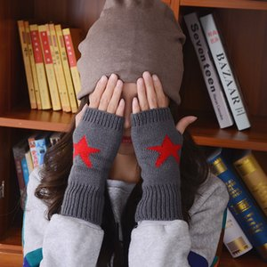Wholesale-2015 New Fall and Winter Fashion 5 Point Star Pattern Half-finger Gloves Unisex Thicker Knitted Wool Gloves Free Shipping