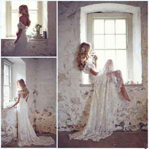 Wholesale 2019 Lace Bridal Gowns Matched Bow White Ivory Custom Made Elegant Beach Wedding Dresses Beaded Cap Sleeve V-Neck Court Train