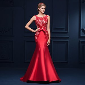 New Arrival 2018 Seductive Red Lace Mermaid Evening Dress Long Formal Gowns Lace Up robe de soiree on Sale