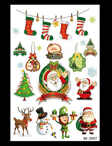 Wholesale Cartoon Anime Tattoos Stickers The Christmas tattoo of the Santa Claus elk Temporary Tattoos kits Stickers Body For Women Men