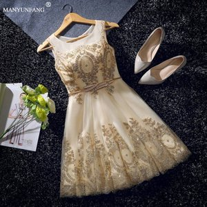 Wholesale Golden Robe De Soiree Fashion Lace Short Cocktail Dresses Bride Banquet Elegant Embroidery Beading Party Dresses Formal Dress