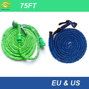 Wholesale spray hose expandable 75ft resale online - 2014 Popular FT Pastic Retractable Hose With Spray Gun M Garden Hose Expandable Flexible Water Pipe US And EU Stantard dandys