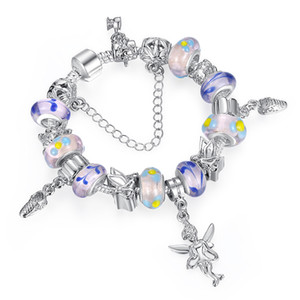 Wholesale Elegant European Purple Charm Bracelets with Murano Glass Beads Angle Dangles European Style Jewelry for Women BL088