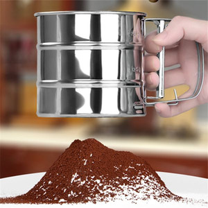 2016 Newest Stainless Steel Mesh Flour Sifter Mechanical Baking Icing Sugar Shaker Sieve Tool Cup Shape