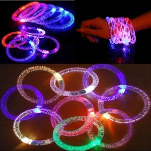 Wholesale LED Acrylic Glitter Glow Flash Bracelet Light Fluorescent Sticks Luminous Crystal Hand Ring Bangle Stunning Dance Party Christmas Gifts