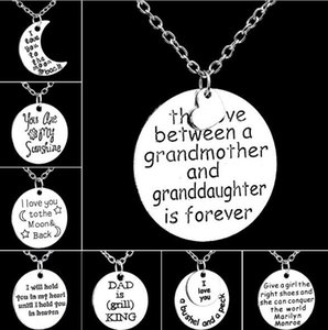 Wholesale NEW The Love Between Grandmother And Granddaughter Stamped Pendant Family Friendship Necklace O Chain Statement Necklace Christmas gift