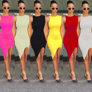 Wholesale Women Sexy Split Club Bodycon Dresses Ladies Girls Sleeveless off shoulder Vintage Night Club Prom Party Mini Dresses Women Clothes Apparel