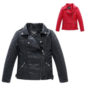 Wholesale gentleman Winter boy leather jacket solid black&red zipper PU jacket coat for 3-12yrs boys infantil children outerwear clothes hot sale