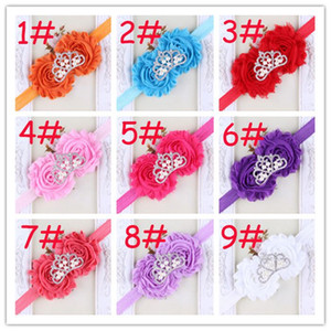 Wholesale 20pcs Chic Fashion Baby Shabby Flower Headbands With Crown Rhinestone Girl Hairbands Hair Accessories Toddler Chiffon Flower Hair band