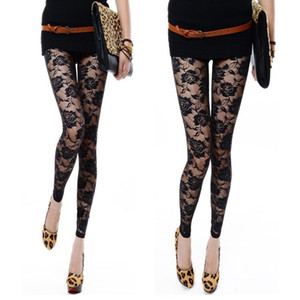Wholesale-Black White Rose Lace Through Leggings Pants Footless Sexy For Women Lady