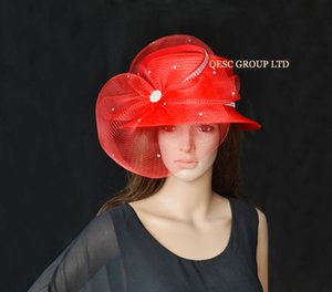 ingrosso cappelli di vestito tutto l'anno-Rosso TUTTO L ANNO TONDO Cappello in raso cappello cappello da chiesa cappello formale cappello Kentucky Derby
