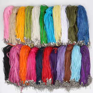 "2017 Fashion 100pcs lot 22Colors Organza Voile Ribbon Necklaces Pendants Chains 3+1 18"" 44cm Jewelry DIY no Stones"