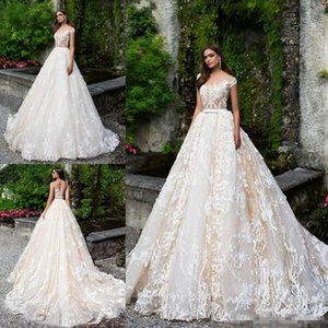 Wholesale snow white lace wedding dress resale online - 2018 winter fall snow garden Ball gown short sleeves wedding dresses vintage lace western bridal wedding gowns