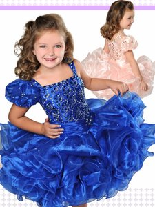 Wholesale Blue Little Girl s Pageant Dresses Gowns Toddler Kids Ball Gown Glitz Flower Girl Dress Weddings Beaded Size Organza Age Size