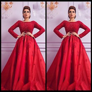 Wholesale New Arrival Red Arabic Evening Dress Long Sleeve Floor Length Beaded Top Formal Party Gowns 2016