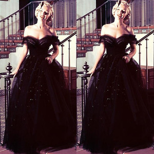 Wholesale Marilyn Monroe oscars vintage Black Off Shoulder Arabic Evening Prom Dresses Ball Gowns Tulle Sequins New Arrival Celebrity Party Gowns