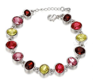 Wholesale swarovski jewelry charm bracelet for sale - Group buy High quality white gold plated Swarovski Elements Crystal Charm Bracelet Fashion Jewelry wedding gift