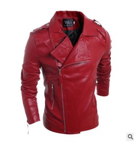 Wholesale Fashion Mens Jacket Solid Style Red Black white Faux Leather Jackets Men Korean Slim Fit Male Brand Punk Man Coat fallow