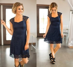 Wholesale navy blue dresses resale online - Bridesmaid Dresses Country Short For Weddings Full Lace Cap Sleeves Navy Blue Burgundy Open Back Plus Size Formal Maid of Honor Gowns