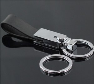 Wholesale Waist Belt Double Loops Black Leather Strap Keychains Key Chain Ring Keychain Keyring Key Fob Good Gift