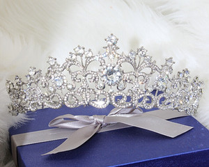 Shining Beaded Crystals Wedding Crowns Bridal Crystal Veil Tiara Crown Headband Hair Accessories Party Wedding Tiara on Sale