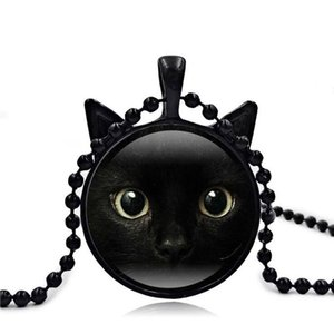 Wholesale Black Cat Necklace for Women Girl Gift Glass Time Gems Cabochon Cat Pendant Jewelry Vintage Necklace Sweater Chain