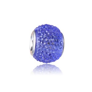 Wholesale Dark Blue Charm Bead Silver Plated Fashion Women Jewelry Stunning European Style For Pandora Bracelet Necklace PANMB134