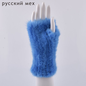 Winter fur gloves for women Real Fur Gloves New Women 20CM Fashion elasticity Genuine Glove Knitted Fur Fingerless