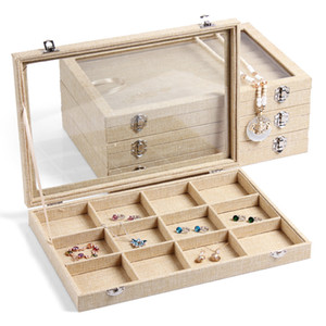 Wholesale glass displays cases resale online - Jewelry Display Tray with Glass Lid Pendant Ring Necklace Earrings Accessories Storage Carrying Cases Organizer cm