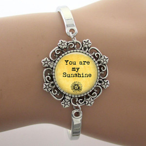 Wholesale sunshine glass resale online - Bracelet You Are My Sunshine Glass Cabochon Dome Lace Charm Phrase Note Jewelry Yellow Photo Design Silver Bangle High Quality