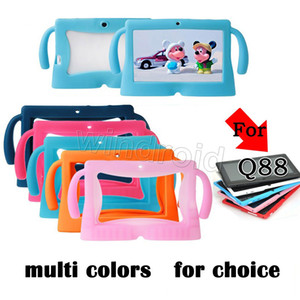 Wholesale Kids carton Soft Silicone Silicon Case Protective Cover Rubber with handle For quot Q88 A13 A23 A33 Tablet pc MID Colorful Free DHL