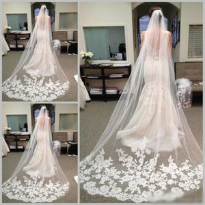 2016 Best Selling Cheapest In Stock Long Chapel Length Bridal Veil Appliques 2015 Veu De Noiva Longo Wedding Veil Lace Purfle with Comb