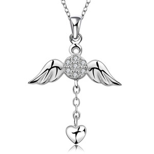 Wholesale Necklaces Designer cz Diamond Fashion Jewelry Sterling Silver Chain X mas Gift Girl Angel Wings Heart Love Pendants Necklaces