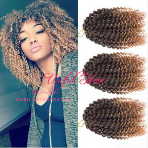 CHRISTMAS GIFT MARLYBOB 3Pcs Lot Bohemian BOUNCE CURL AFRO KINKY CURLY 8INCH mali bob hair extensions SYNTHETIC BARIDING HAIR crochet braids