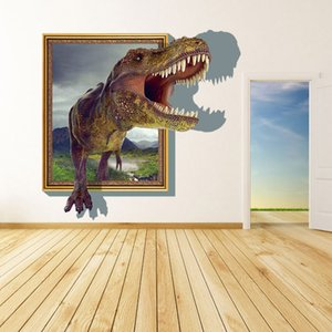 Wholesale New Arrival D Cartoon Dinosaur Out of the frame Wall Decor Stickers for Living Room Nursery Baby s Room Decoration Home Decorative Wall Art