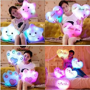Wholesale Led Luminous Pillow Glowing Star Heart Bear Paw Led Light Plush Pillow Night Light Kids Cushion Decoration Christmas Toys TY7-95