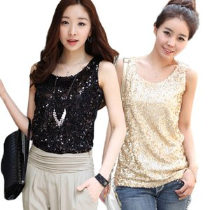 Wholesale Women Shiny Sequin Vest Bling Top Mesh Tank Sleeveless Blouse Lady T Shirt Sexy Tee Casual golden blusas femininas