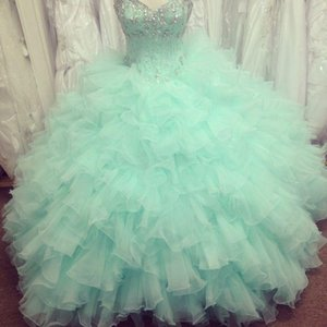 Wholesale 2019 Real Image Quinceanera Dresses Sweetheart Beads Crystals Backless Ruffles Ball Gown Floor Length Organza Mint Green Prom Gowns