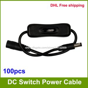Wholesale 100pcs high quality mm x mm DC Male to Female Power Supply Cable Cord with ON OFF Switch
