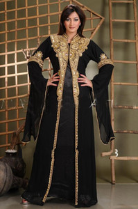 Wholesale arabic maternity clothes for sale - Group buy 2020 New Arabic Abaya in Dubai Islamic Clothing for Women With Gold Appliques Crystal Beaded Kaftan Muslim Evening Dresses Party Prom Gowns