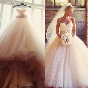 Wholesale Charming Blush Pink Wedding Dresses 2018 Tulle Beaded Sash Flower Cheap A Line Sweetheart Sleeveless Country Bridal Dresses Ball Gowns