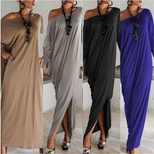 Wholesale Spring Summer fat Women Clothes Fashion Casual dresses cotton Long length Sleeve Maxi Dresses xl Irregular Plus Size Oversize Loose Dresses