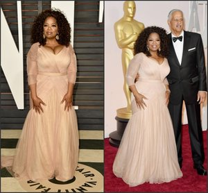 Oprah Winfrey Oscar Celebrity Dresses plus size v neck sheath chiffon with long sleeves mother of bride groom dresses BO9521 on Sale