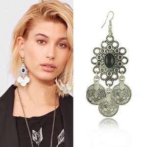 Wholesale Vintage Silver Turkish Coin Earrings floral design Boho Gypsy Beachy Ethnic Tribal Festival Jewelry Turkish Bohemian Earrings