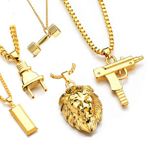 New fashion Uzi Gold Chain Hip Hop Long Pendant Necklace Men Women Fashion Brand Gun Shape Pistol Pendant Maxi Necklace HIPHOP Jewelry.